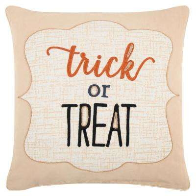 Halloween Trick or Treat 20 in. x 20 in. Decorative Filled Pillow
