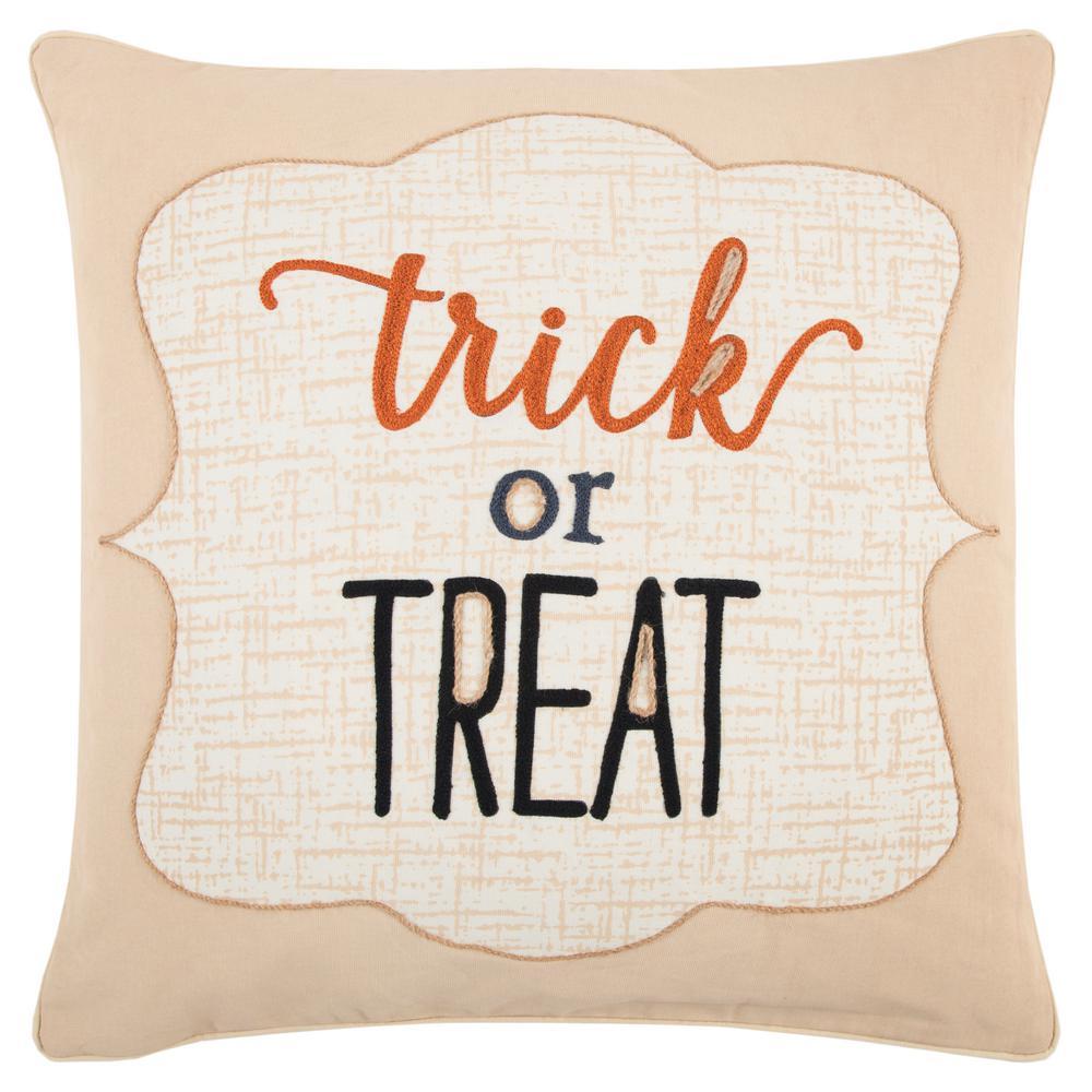 Halloween Trick Or Treat Polyester Standard Throw Pillow