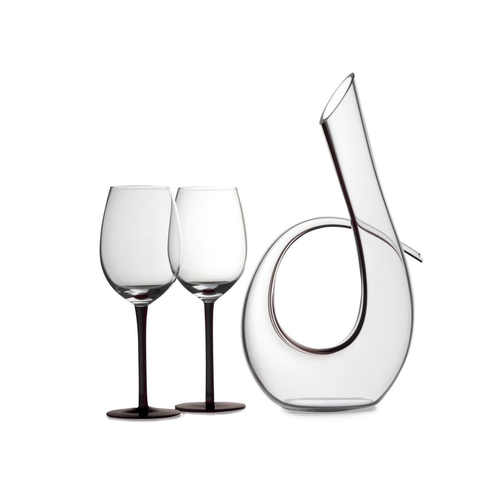 Sensations 620 ml Decanter and Wine Glass in Black (Set of