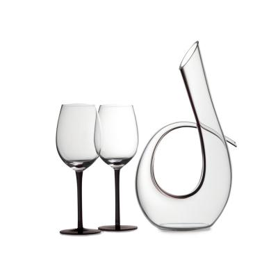 Sensations 620 ml Decanter and Wine Glass in Black (Set of 3)