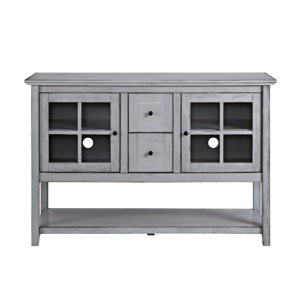 Walker Edison Furniture Company 52 In Antique Grey Wood Console Table Buffet TV Stand HD52C4CTAGY