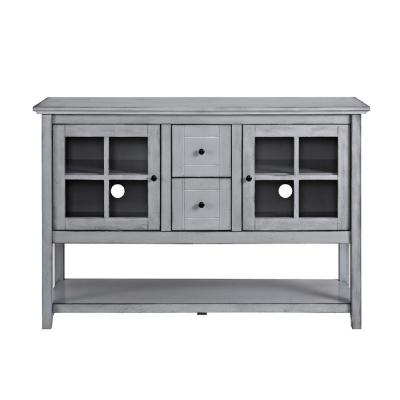 Etonnant Antique Grey Wood Console Table Buffet TV Stand