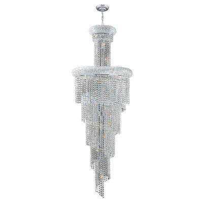 Empire Collection 22-Light Chrome Chandelier with Clear Crystal