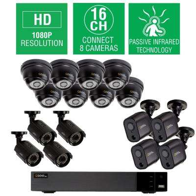 16 Channel 1080p 2TB HD Video Surveillance System with 8 Dome, 4 Bullet, and 4 PIR Bullet Cameras, 100 ft. Night Vision