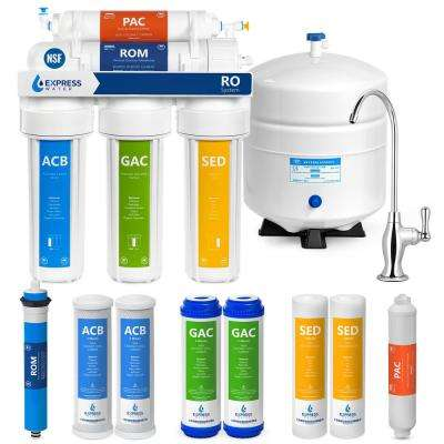 Under Sink Reverse Osmosis Water Filtration System - 5 Stage Purifier w/ Faucet & Tank - 4 Replacement Filters 50 GPD