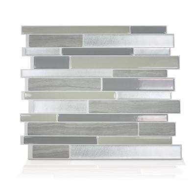 Milano Grigio 11.55 in. W x 9.63 in. H Grey Peel and Stick Self-Adhesive Decorative Mosaic Wall Tile Backsplash (6-Pack)