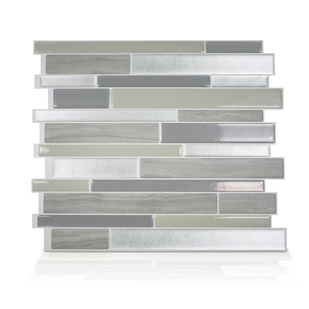 Smart Tiles Milano Grigio 11.55 in. W x 9.63 in. H Grey Peel and Stick Self-Adhesive Decorative Mosaic Wall Tile Backsplash (6-Pack)