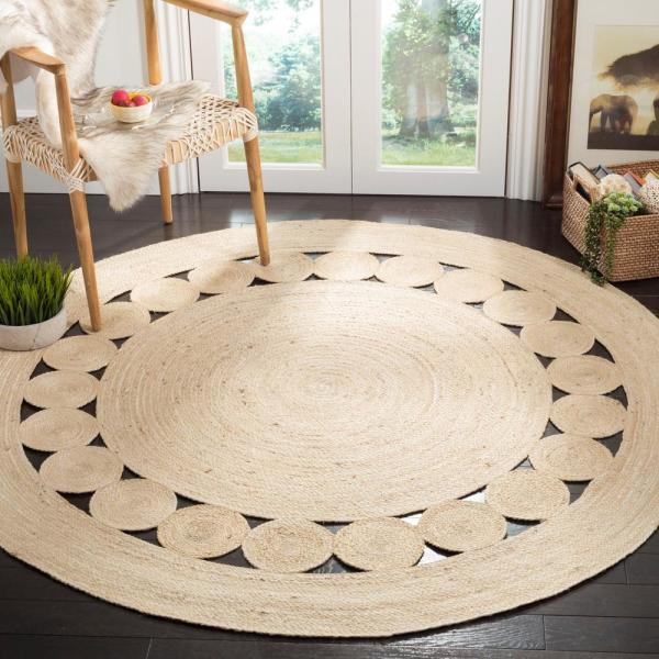Safavieh Natural Fiber Ivory 7 Ft X 7 Ft Round Area Rug Nf364b 7r The Home Depot