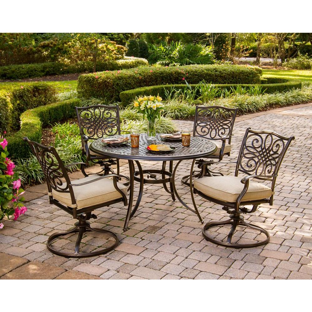 Hanover Traditions 5 Piece Patio Outdoor Dining Set With 4 Cushioned Swivel  Chairs And 48 In. Round Table TRADITIONS5PCSW   The Home Depot