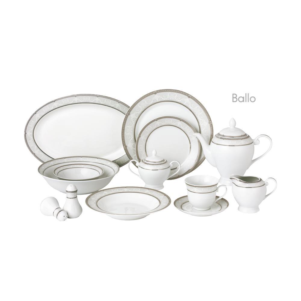 57-Piece Silver Porcelain Dinnerware Set