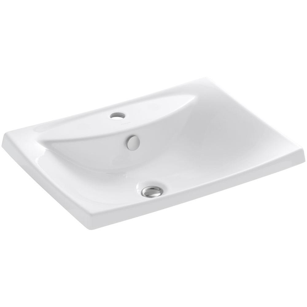 Escale Drop-In Vitreous China Bathroom Sink in White with Overflow Drain