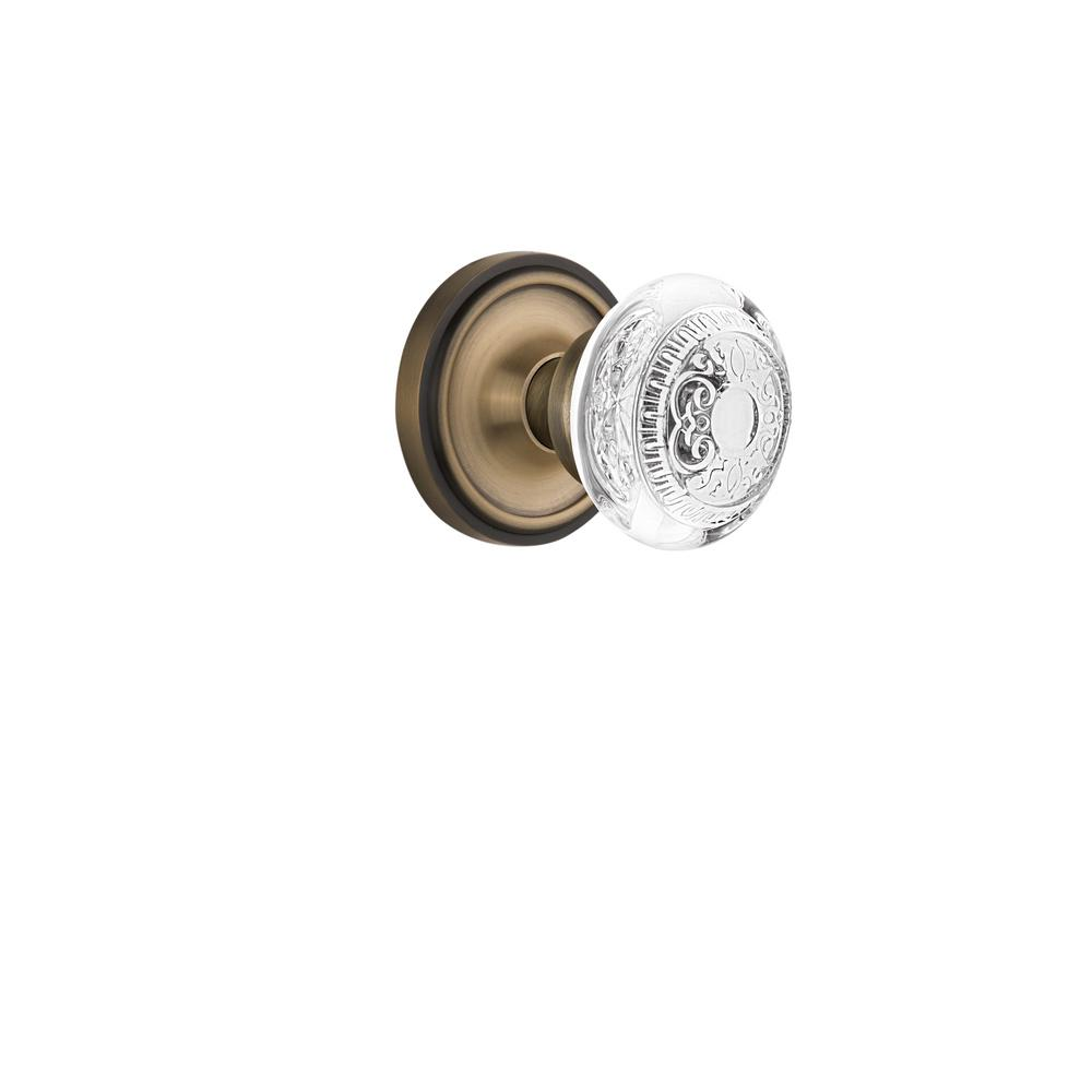 Classic Rosette Interior Mortise Crystal Egg and Dart Door Knob in