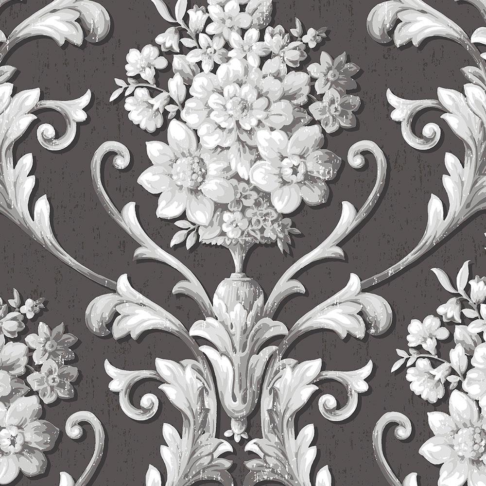 Floral Damask Wallpaper Cs35625 The Home Depot