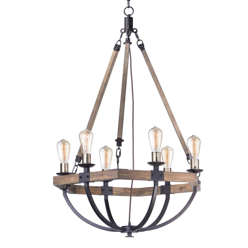 Maxim Lighting Lodge 6 Light Weathered Oak Bronze Chandelier