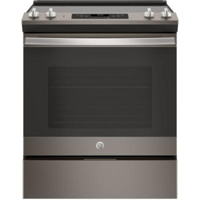 GE 30 in. 5.3 cu .ft. Slide-In Electric Range with Self-Cleaning Oven in Slate, Fingerprint Resistant