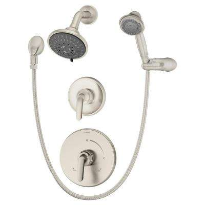 Elm 2-Handle Shower Faucet with Handshower in Satin Nickel (Valve Included)