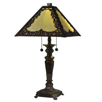Filigree 23.5 in. Fieldstone Table Lamp with Hand Rolled Art Glass Shade