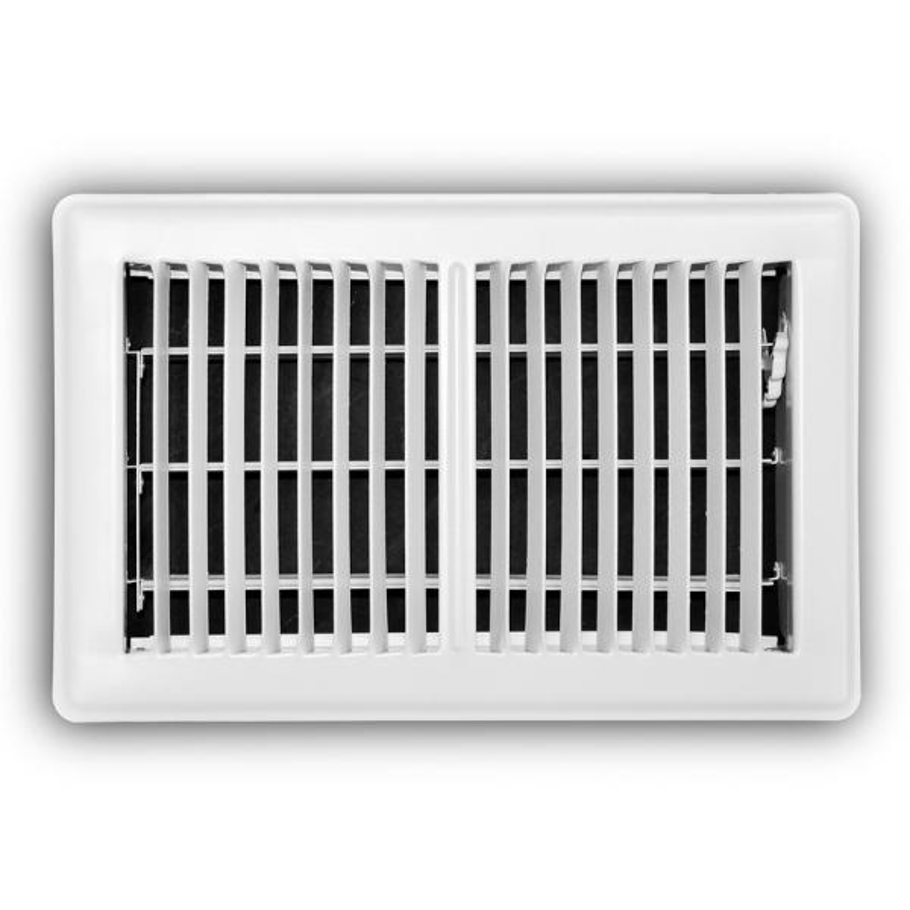 6 in. x 10 in. 2-Way Steel Floor Register in White