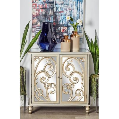 White 2-Door Scrolled Cabinet