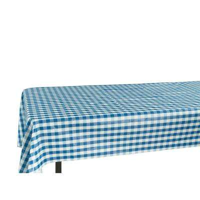 55 in. x 70 in. Indoor and Outdoor Blue Checkered Design Table Cloth for Dining Table