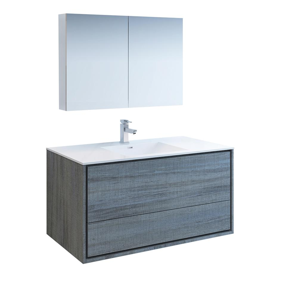 Fresca Catania 48 in. Modern Wall Hung Vanity in Ocean Gray with Vanity Top in White with White Basin and Medicine Cabinet