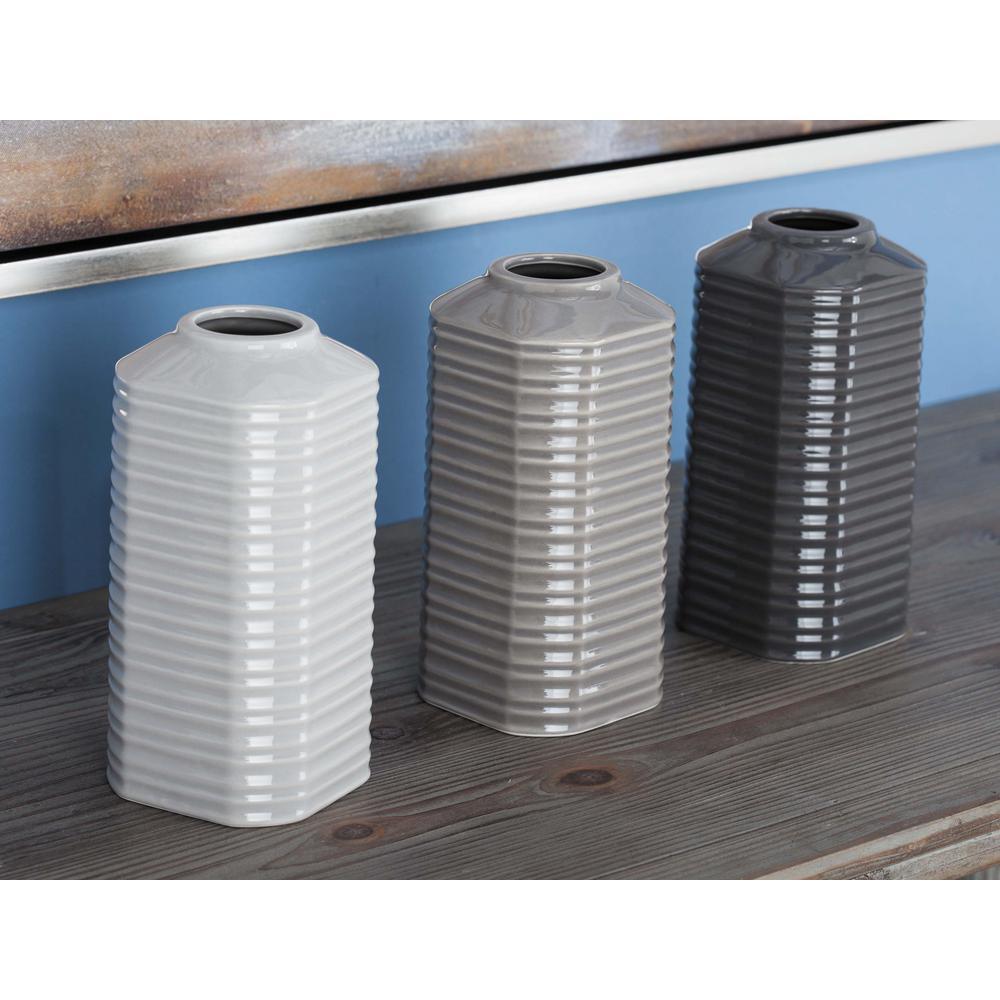 8 in ceramic decorative vases in gray white and black set of 3 ceramic decorative vases in gray white and black set of 3 87729 the home depot reviewsmspy