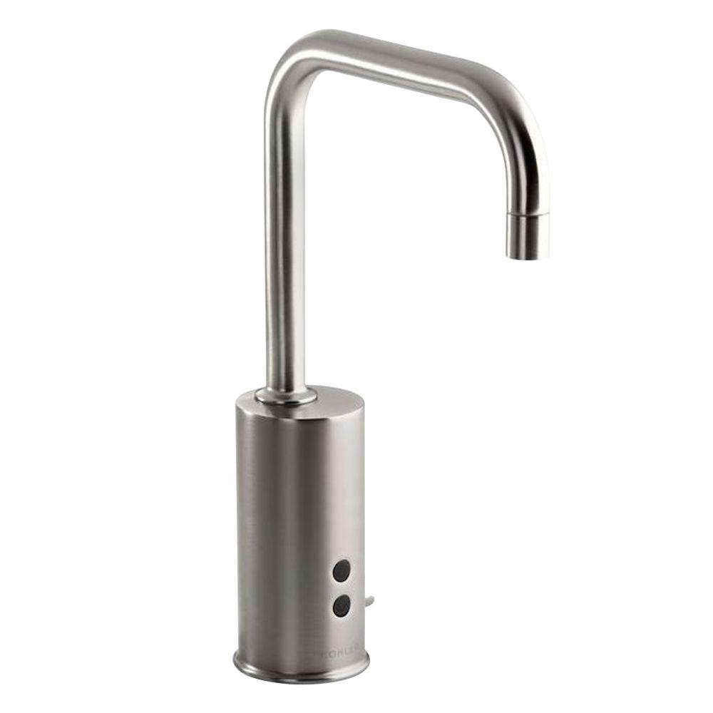 KOHLER Geometric Battery-Powered Single Hole Touchless Bathroom Faucet in Vibrant Stainless