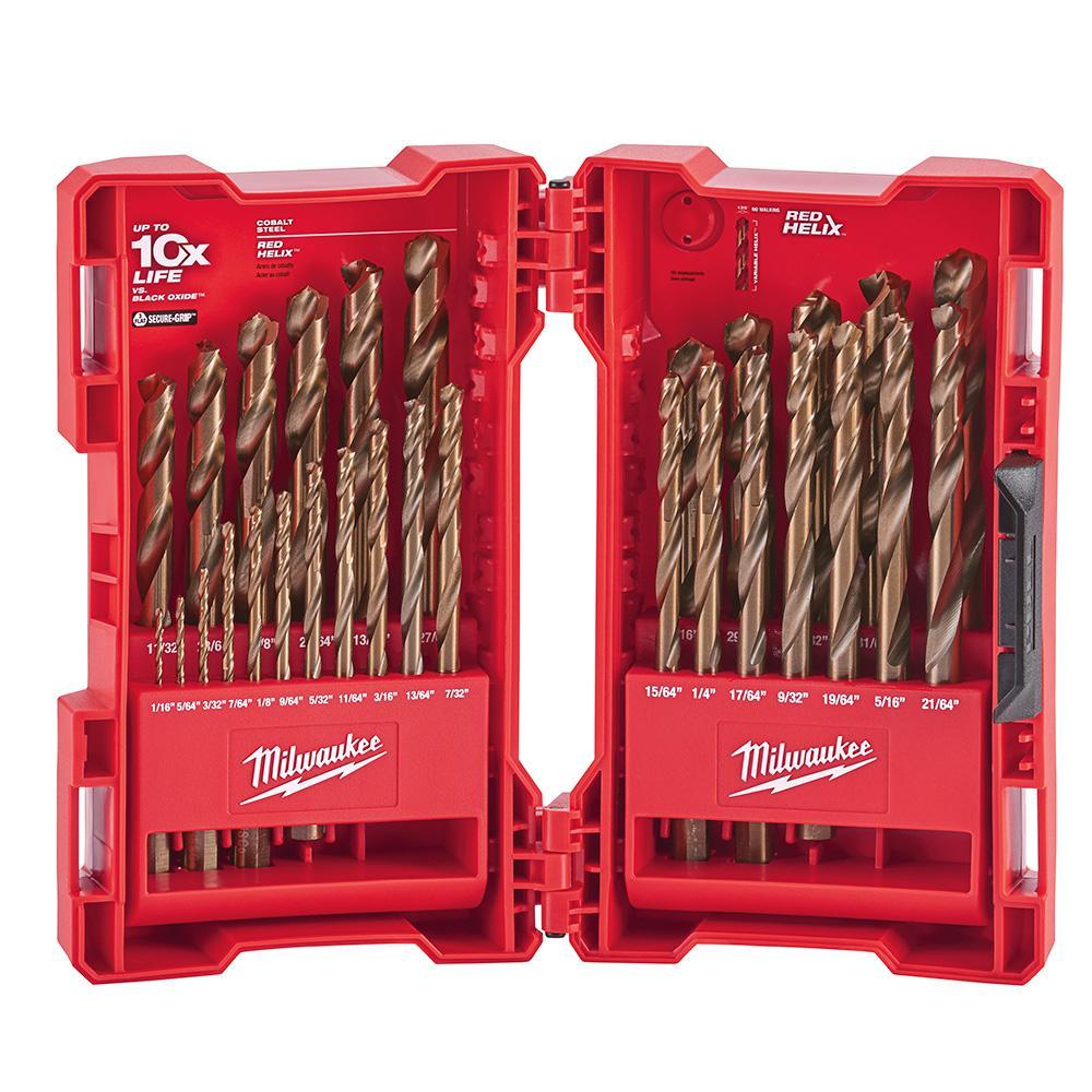 29 Piece Cobalt Red Helix Drill Bit Set
