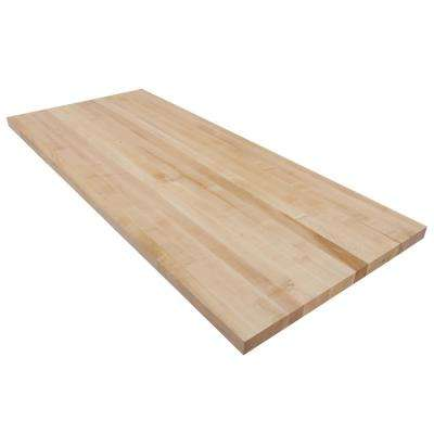 5 ft. L x 2 ft. 1 in. D x 1.5 in. T Butcher Block Square Edge Countertop in Finished Maple