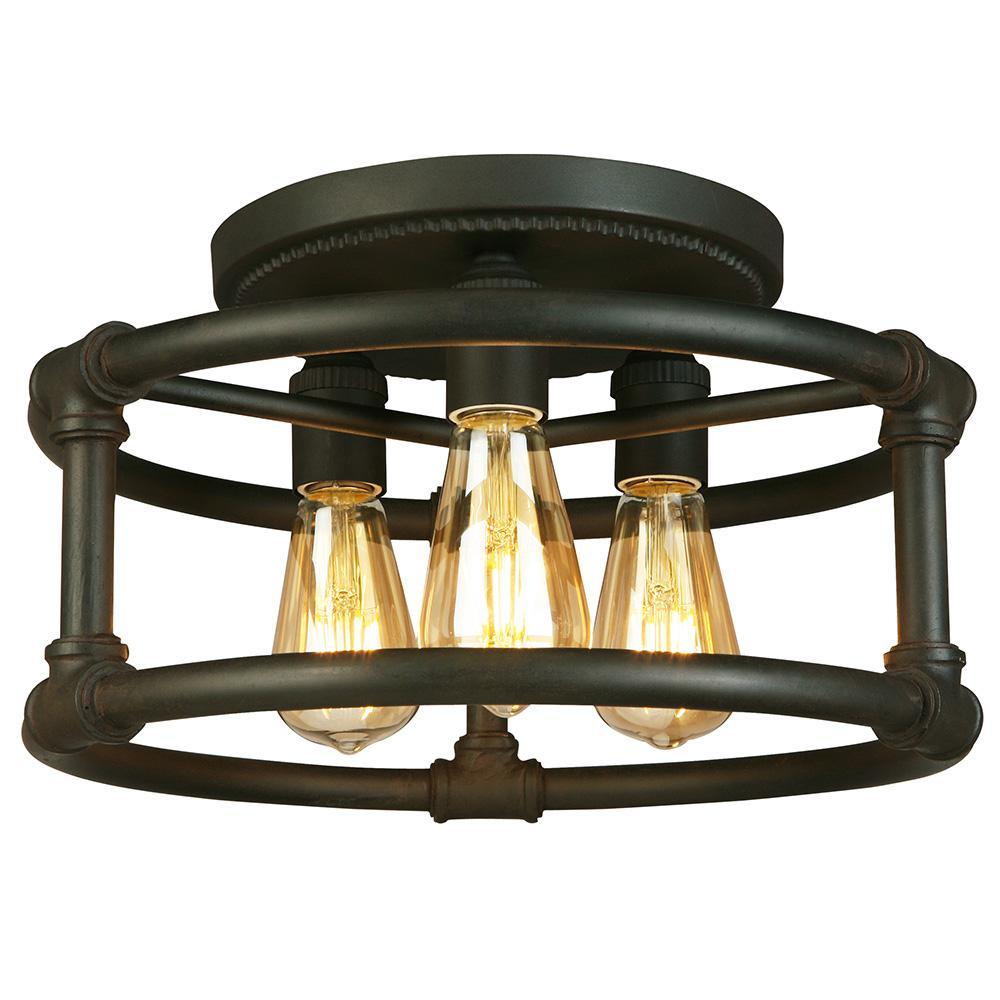Wymer 3-Light Matte Bronze Semi-Flush Mount