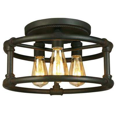 Wymer 3-Light Matte Bronze Semi-Flushmount
