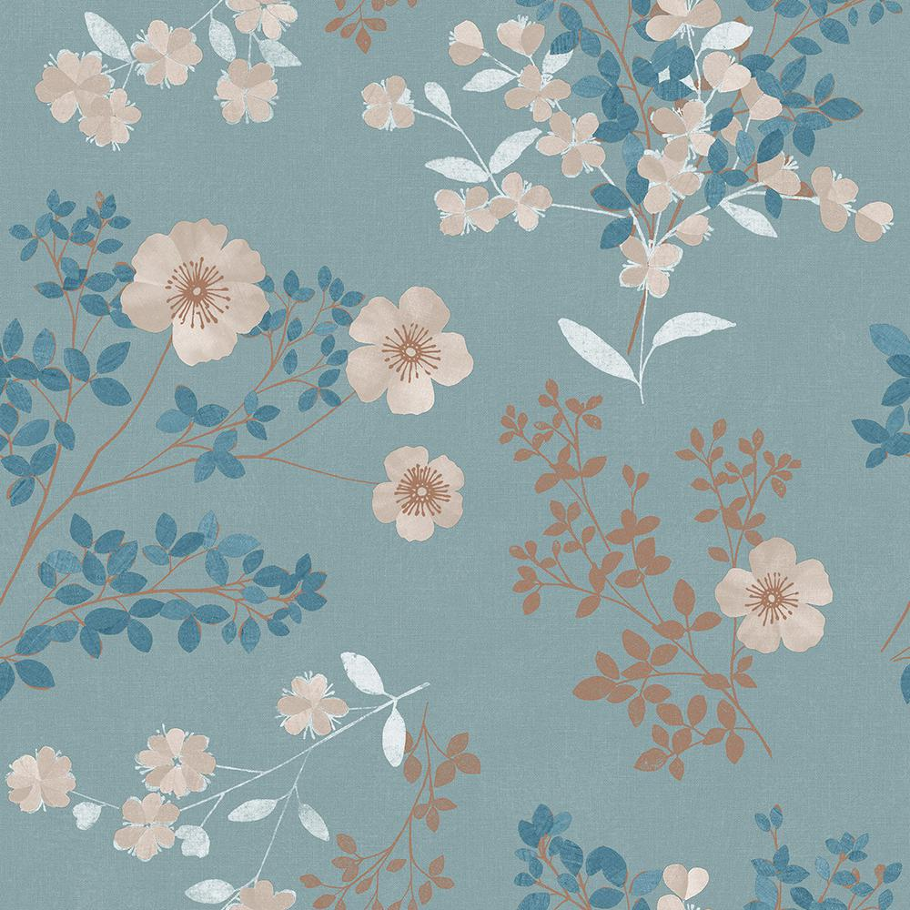 Wall Vision 57 8 Sq Ft Prairie Rose Teal Floral Wallpaper 2827