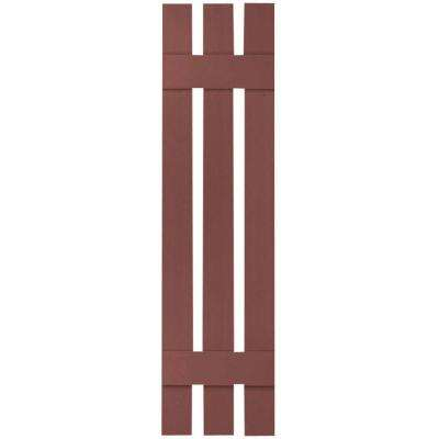 12 in. x 43 in. Lifetime Vinyl Standard Three Board Spaced Board and Batten Shutters Pair Burgundy Red