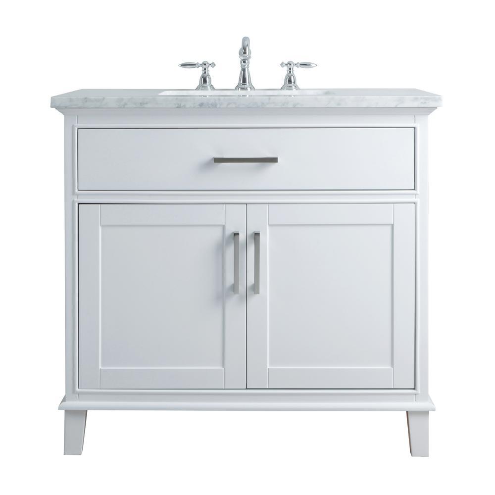 36 In. Leigh Single Sink Bathroom Vanity In White With Carrara Marble Vanity  Top In