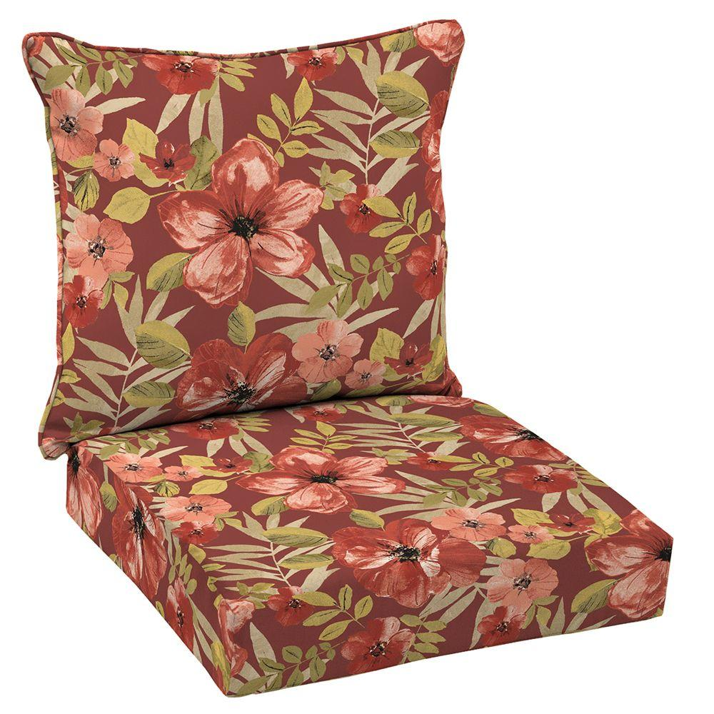 Hampton Bay 24 X Outdoor Lounge Chair Cushion In Standard Chili Tropical