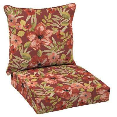 Chili Tropical Blossom Welted 2-Piece Deep Seating Outdoor Lounge Chair Cushion Set