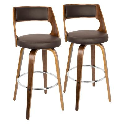 Cecina 30 in. Walnut and Brown Faux Leather Bar Stool (Set of 2)