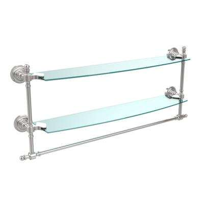 Retro Dot Collection 24 in. Two Tiered Glass Shelf with Integrated Towel Bar in Polished Chrome
