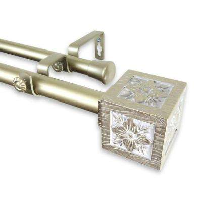 66 in. - 120 in. Telescoping 1 in. Double Curtain Rod Kit in Light Gold with Ophelia Finial