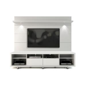 Cabrini 86 in. White Gloss Engineered Wood Entertainment Center with 2 Drawer Fits TVs Up to 70 in. with Wall Panel