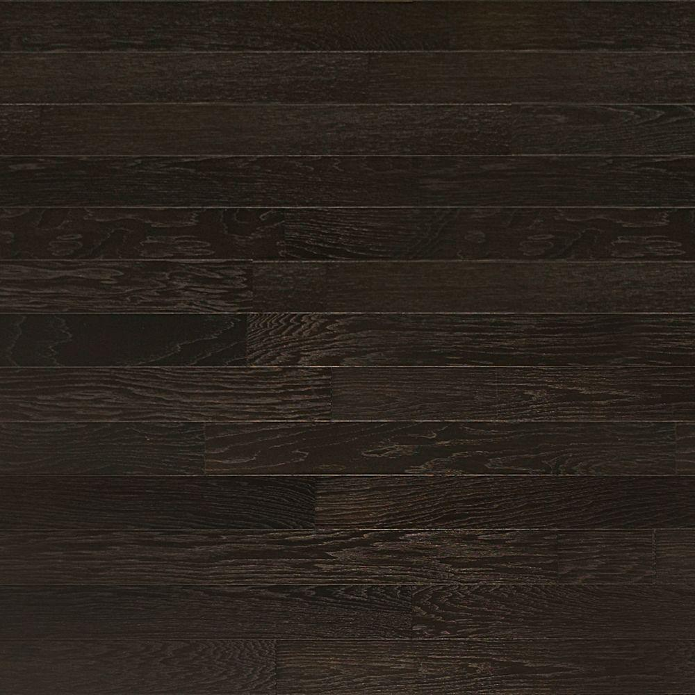 Heritage Mill Take Home Sample Brushed Hickory Ebony Engineered Click Hardwood Flooring 5 In. X 7 In.