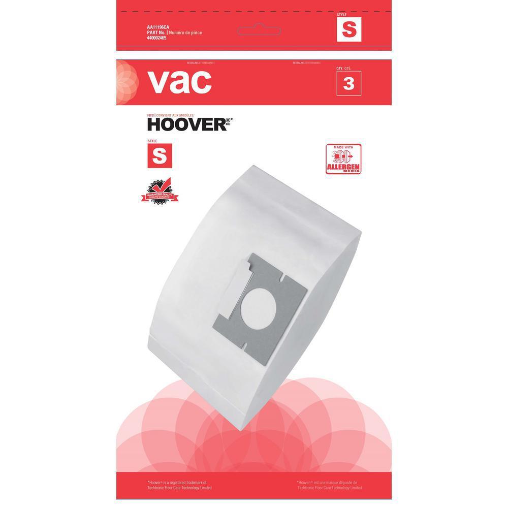 Vac Hoover Type S Allergen Bags (3-Pack)
