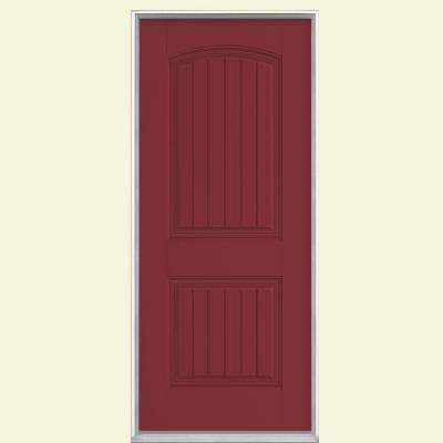 36 in. x 80 in. Cheyenne 2-Panel Left Hand Inswing Painted Smooth Fiberglass Prehung Front Door No Brickmold
