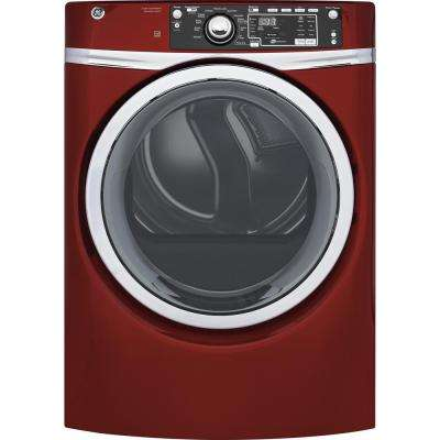 8.3 cu. ft. 240 Volt Ruby Red Stackable Electric Vented Dryer with Steam, ENERGY STAR