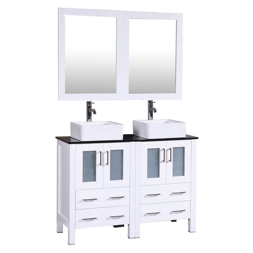Bosconi 48 in. Double Vanity in White with Tempered Glass Vanity Top in Black with White Basin and Mirror