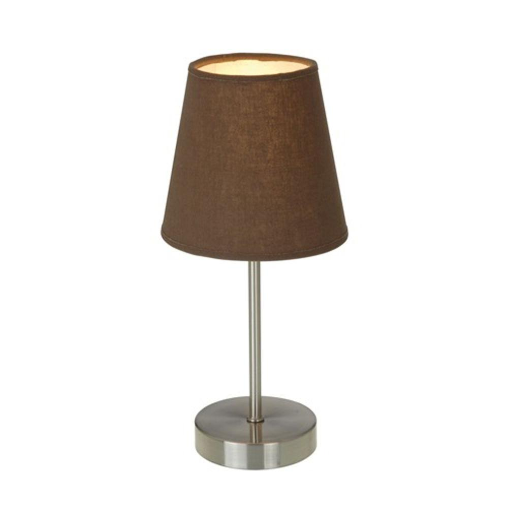 Simple Designs 10 in. Sand Nickel Mini Basic Table Lamp with Brown ...
