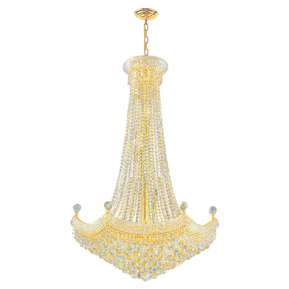 Worldwide Lighting Empire Collection 18-Light Crystal and Gold Chandelier