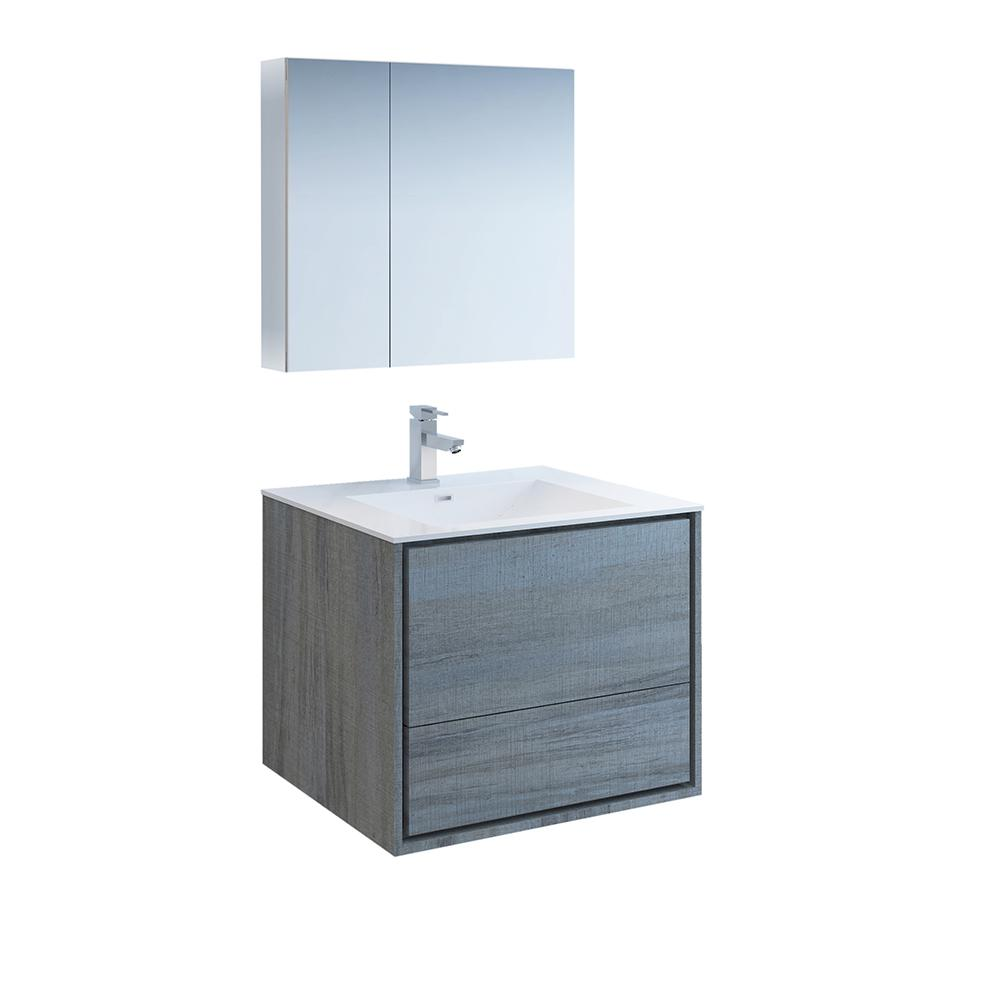 Fresca Catania 30 in. Modern Wall Hung Vanity in Ocean Gray with Vanity Top in White with White Basin and Medicine Cabinet