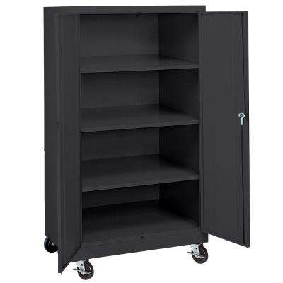 66 in. H x 36 in. W x 24 in. D 4-Shelf Steel Freestanding Mobile Cabinet in Black