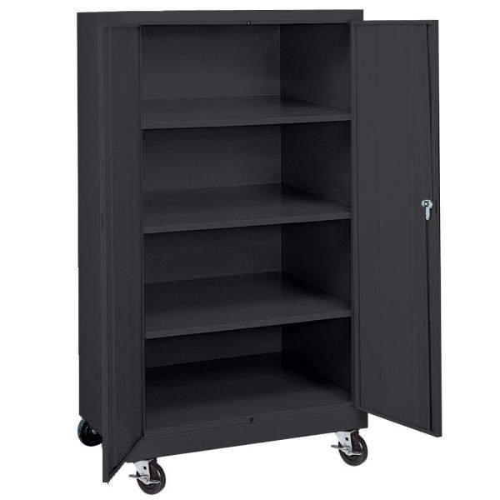 66 in. H x 36 in. W x 24 in. D 4-Shelf Steel Freestanding Mobile Cabinet in Black